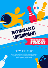 Vector bowling tournament banner, poster or flyer design template. Flat layout background with human silhouette, bowling ball and pins. Abstract illustration of bowling game.