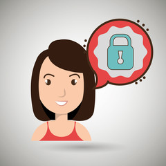 woman communication padlock bubble