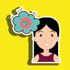 woman communication camera bubble