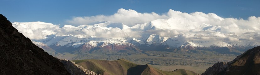 Panoramic view of Lenin Peak - Pamir Mountains