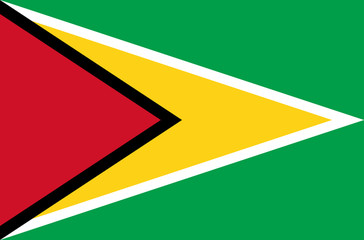Vector flat style Co-operative Republic of Guyana state flag. Official design of Guyana national flag. Symbol with triangles. Located in America. Independence day, holiday, button, template background