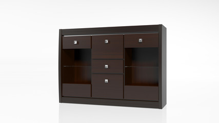 Cabinet, furniture with drawers isolated on white background