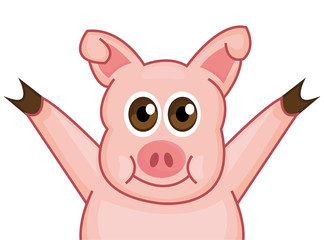 Happy Pig character, background. Vector, illustration, icon logo, Art, face, cartoon, isolated.