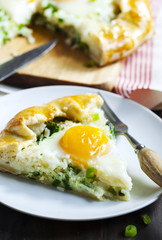 Pie with rice, green onions and egg. Galette