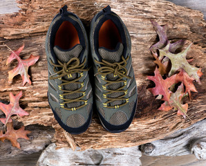 New hiking shoes on rotten wood background