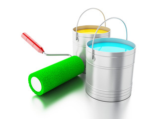 3d Full paint buckets and paint roller.