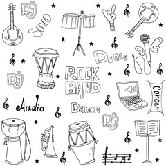 Music element doodles hand draw