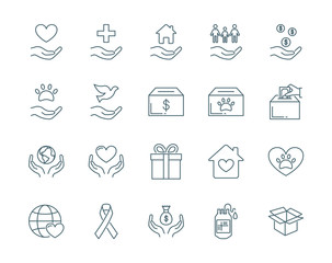 Charity vector icons set modern line style