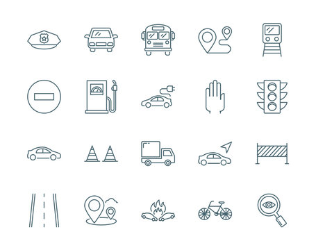 Road traffic vector icons set modern line style