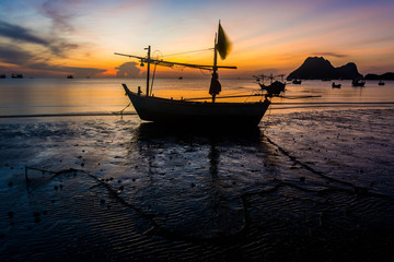 Silhouette of  fishing boat in thailand