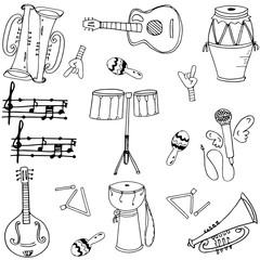 Musical instrument doodles vector art