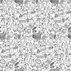Supermarket seamless pattern