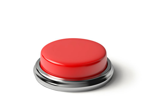 Red button isolated with clipping path