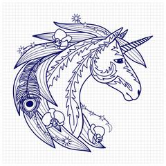 Unicorn on squared paper