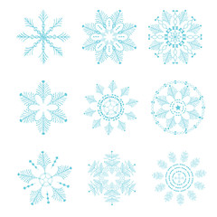 Set of vector snowflakes. Christmas and New Year elements.