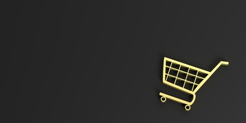 e commerce symbol on black background - copy space. 3d illustration