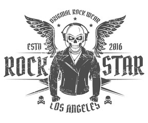 Set of rock and roll star for t shirts and tattoo design.