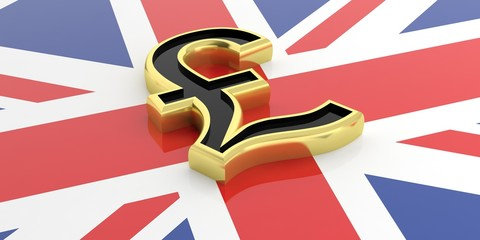 British pound symbol on a GB flag. 3d illustration