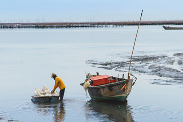 The fishermen returned to shore from fishing in the morning.