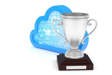 Isoalted silver cup with cloud on white background. Blue contour cloud. Concept of cloud storage competition. Leader cloud drive. Best storage contest. 3D rendering.