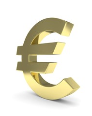 Isolated golden euro sign on white background. European currency. Concept of investment, european market, savings. Power, luxury and wealth. 3D rendering.