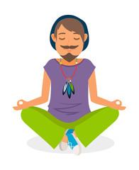 Funky man vector icon. Hippie man yoga meditation