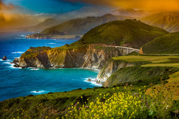 Printed roller blinds Sea Bixby Creek Bridge Big Sur California