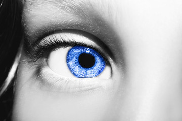 Macro Close up portrait of young girls blue eye
