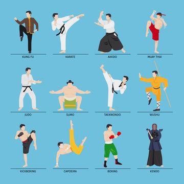Asian martial arts vector illustration. Karate and kung fu, sumo and boxing