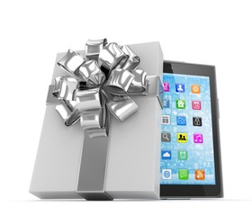 Tablet in white gift box with silver bow and ribbons on white. 3D rendering.