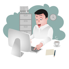 character of an office person, businessman cartoon, character design