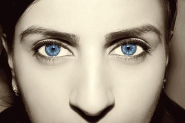 Beautiful insightful look blue vintage woman's eyes