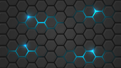 Dark vector illustration with a hexagonal pattern and blue backlight.