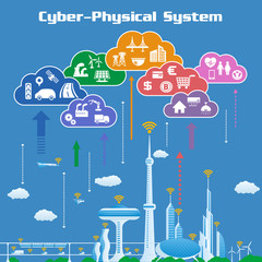 CPS (Cyber-Physical System) concept image, various information upload to cloud and analytical data download to real world, Cloud Computing, Internet of Things