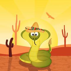 cobra with sombrero in the desert