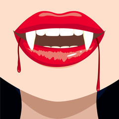 Close up of female vampire bloody mouth showing fangs