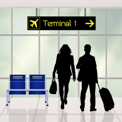 couple at the terminal in airport
