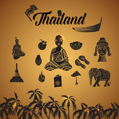 Thailand icons set in simple style. Thailand elements set collection vector illustration
