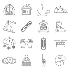 Snowboarding icons set in outline style. Winter sport elements set collection vector illustration
