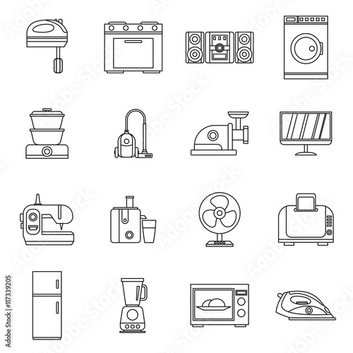 u0026quot household appliances icons set in outline style  home electrical devices set collection vector