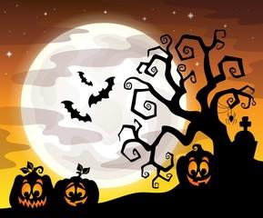 Halloween tree silhouette theme 3