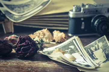 vintage still life with old photos