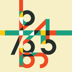 Mathematics background with colorful numbers. Abstract math symbols, vector illustration