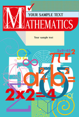 Mathematics. Vector cover. A background from scientific formulas. For book, textbook, notebook, flyers, poster, booklet