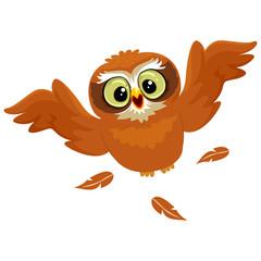 Vector Illustration of an Owl Flying
