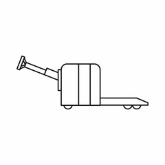 Cart on wheels icon in outline style isolated on white background. Shipping symbol