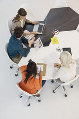 High angle view of a business team working in an office