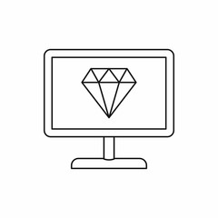 Monitor with diamond icon in outline style isolated on white background. Device symbol