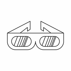 3D glasses icon in outline style isolated on white background. Cinema symbol
