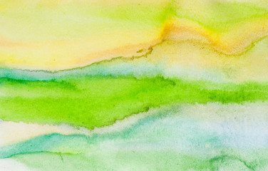 Abstract green and yellow watercolor background